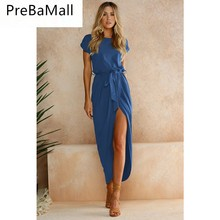 Ladies Sheath Summer Dress Women New Casual Sexy Deep V High Fork Long Female Elegant Bohemian Beach Party Dresses C20