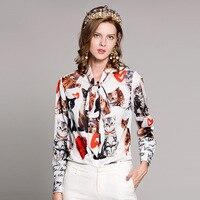High quality 2019 spring/summer designer fashion Blouses/tops Women long sleeve Bow collar vintage Cat print shirtt