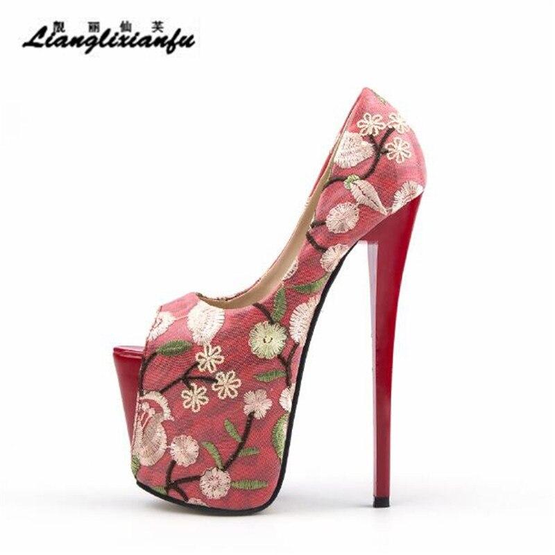 7768f909dcebb Mariage 42 22 43 Des Broderie De 34 Sandales kaki Rétro Stiletto Plus Femmes  Peep D été Rouge Llxf Femme À Mince Talons Toe Pompes Chaussures ...