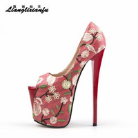 LLXF Summer Sandals RED 22cm Thin High heeled Shoes woman Stiletto female wedding Peep Toe Retro embroidery Pumps Plus:34 42 43