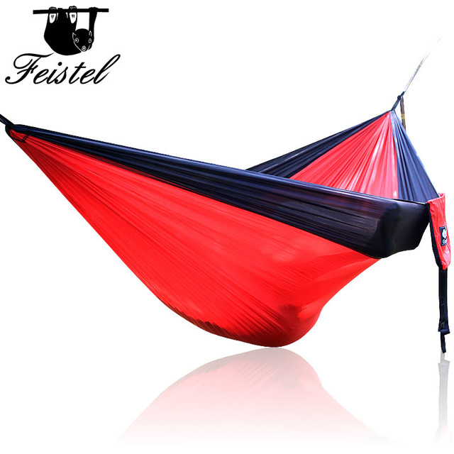 Single Double Hammock Adult Outdoor Backpacking Travel Survival Hunting Sleeping Bed Portable With 2 Straps 2 Hammock Carabiner