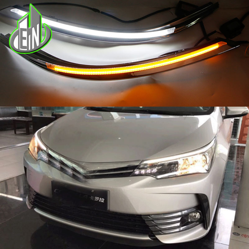 2 Pcs Car Headlight LED Eyebrow Daytime Running Light DRL With Yellow Turn Signal Light For Toyota Corolla 2017 9600Lm tcart for toyota rav4 2016 2017 drl daytime running light with turn signal light function headlight fog lights led car day light