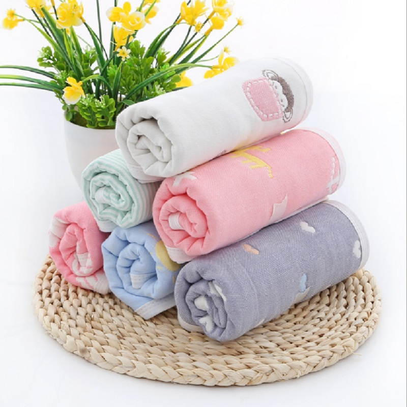 Baby Towel 25*50 cm 6 Layers Cotton Childrens Towels Soft Cartoon Towel Baby Bath Towel Newborn Baby Face Shower Handkerchef