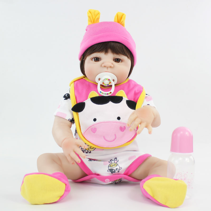 55cm Full Silicone Bebe Reborn Doll Realistic 22 Vinyl Newborn Baby Toddler Princess Girl Waterproof Body Lovely Birthday Gift