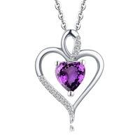 Yl 6*6mm القلب الجمشت الماس قلادة قلادة 14 كيلو بيضاء الذهب خمر مجوهرات للنساء
