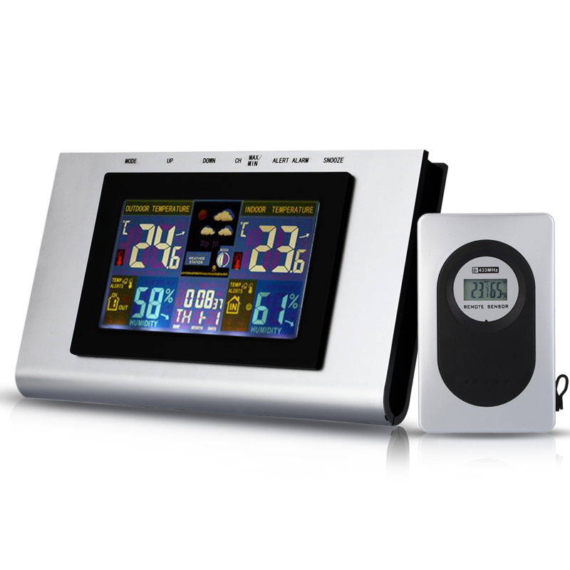 Colorful LCD Wireless Digital Weather Station <font><b>Temperature</b></font> Humidity Tester Alert Clock Indoor Outdoor Thermometer Hygrometer FULI