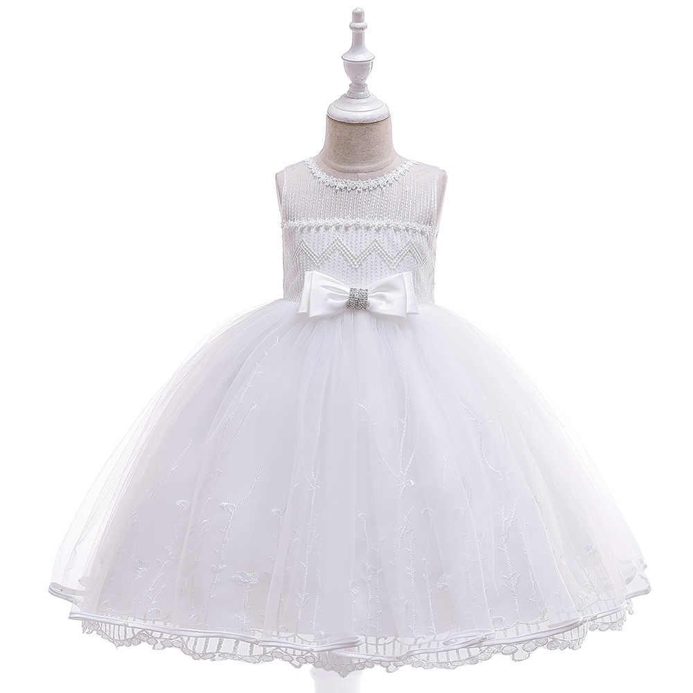 Лето 2019 платье для девочек подростков От 3 до 12 лет цветок Шнуровка с бантиком без рукавов бальное платье, платье принцессы Детские платья для девочек Платья для вечеринок