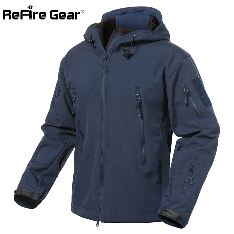 ReFire Gear Navy Blue Soft Shell Military Jacket Men Waterproof Army Tactical Jacket Coat Winter Warm Fleece Hooded Windbreaker