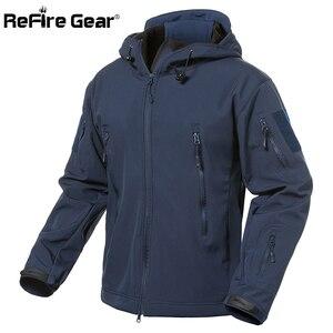 Image 1 - Refireギア紺ソフトシェルミリタリージャケット男性防水軍の戦術的なジャケットコート冬暖かいフリースフード付きウインドブレーカー
