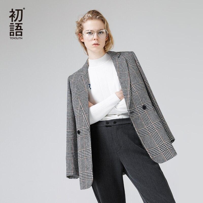 Toyouth Пиджаки осень 2017 г. Для женщин Мода Клетчатый узор однобортный универсальные Дамы Blazer