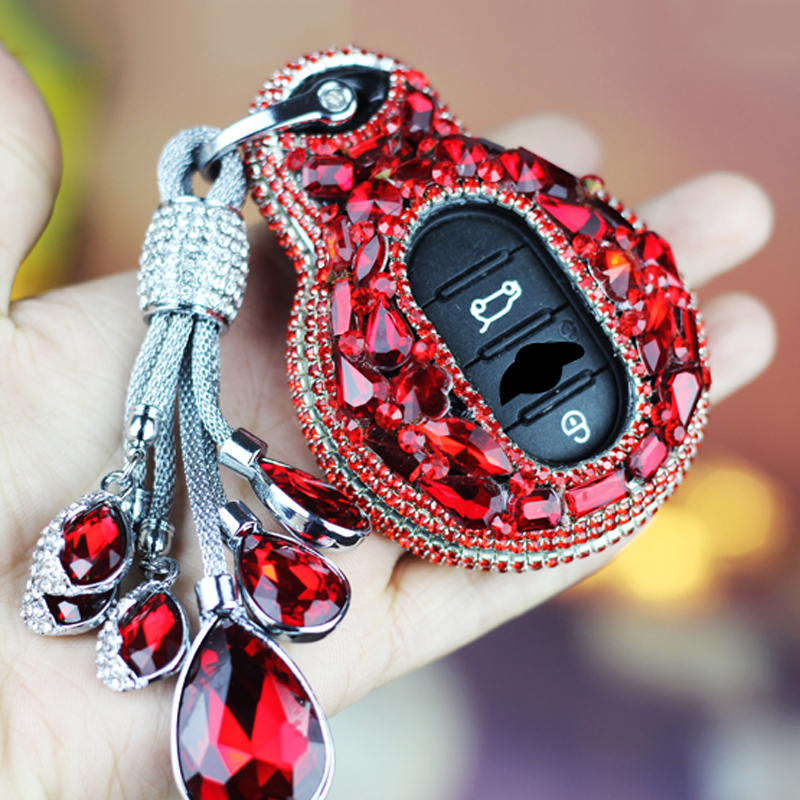 Crystal Diamond Car Key Cover Holder Bag Skin Case Set for BMW Mini Cooper F56 F55