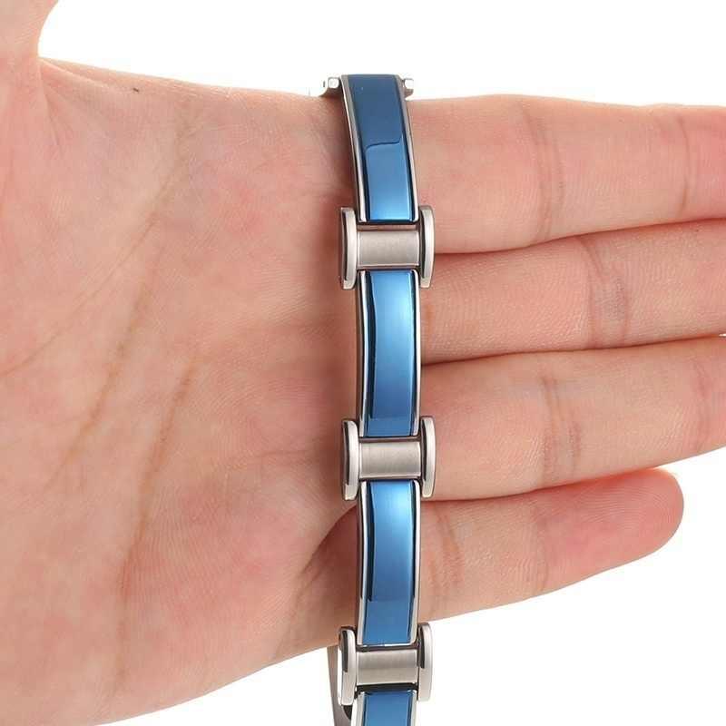 Health Energy Balance Bracelet Bangle for Arthritis and Carpal Tunnel Blue Stainless Steel Chains Germanium Magnetic Bracelet