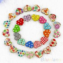 100Pcs Multicolor Heart Shaped 2 Holes Wood Sewing Scrapbooking Buttons hot
