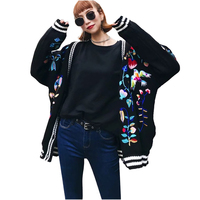 Spring Autumn Korean Fashion Women Knitted Cardigan Coats Floral Birds Embroidered Sweater Jackets Long Sleeved Combed