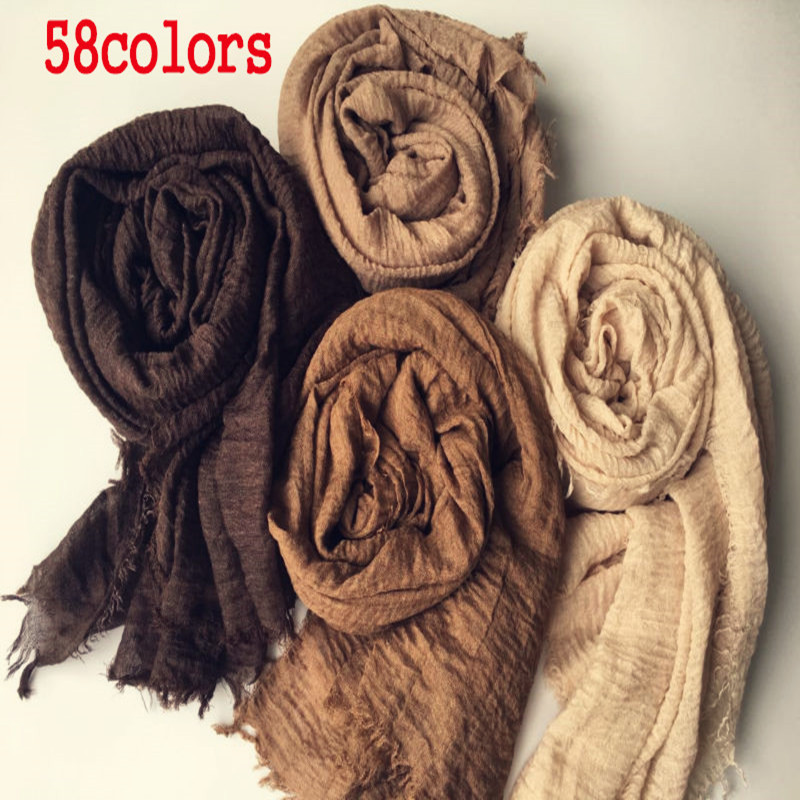 Women Maxi solid scarf bubble plain muslim hijab scarves pashmina foulard shawls bandana fashion head scarf big shawls and wraps-in Women's Scarves from Apparel Accessories