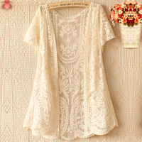 Lace Mesh Hollow Out Embroidery Floral Loose Casual Summer Shirt Kawaii Lolita Mori Girl Novelty Lace