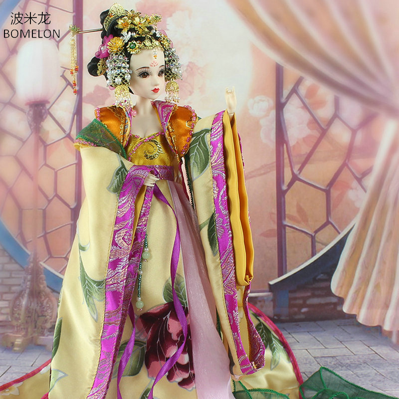 34CM Handmade Chinese Costume Dolls  Empress Wu 1/6 Bjd Doll Tang Beauty Doll Brinquedo 12 Jointed doll Girl Toy Birthday Gift pure handmade chinese ancient costume doll clothes for 29cm kurhn doll or ob27 bjd 1 6 body doll girl toys dolls accessories