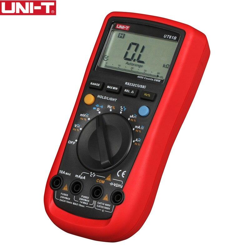 UNI-T UT61B DMM Multimètres Numériques 3999 Points Auto Gamme USB PC Logiciel Auto Power Off Meilleure Précision 1% 0.5 s rapide Test
