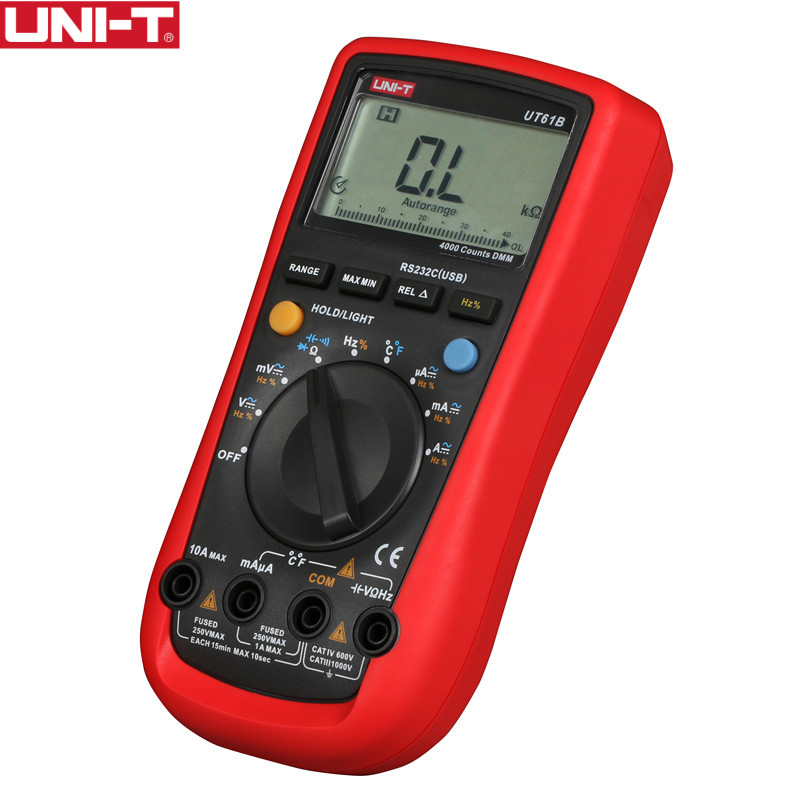 UNI-T UT61B DMM Multimetri Digitali 3999 Count Auto Range USB Software per PC Auto Power Off Best Precisione 1% 0.5 s test rapidi
