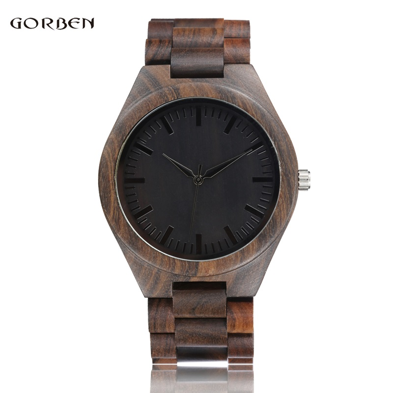 Natural Vintage Full Wooden Watches Mens Bracelet Band Black Wood Dial Quartz Movement Male Wristwatches Clock Relogio Masculino natural hand made classic red wooden men quartz watch bracelet clase full wood band simple scale dial cool gift reloj masculino