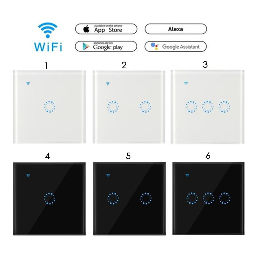 Teekar Touch Control <font><b>Switch</b></font> Smart Light <font><b>Switch</b></font> UK/EU Standard 1/<font><b>2</b></font>/3 <font><b>Gang</b></font> Wall <font><b>Wifi</b></font> Light <font><b>Switch</b></font> Work With Alexa Google Home image
