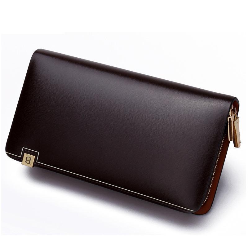 Genuine Leather Men Wallets Double Zipper Money Clip Male Walet Fashion Male Purses Long Phone Wallet Mans Clutch Bags