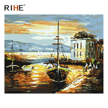 RIHE Seaside House Diy Painting By Numbers Abstract Dusk Boat Oil Painting On Canvas Cuadros Decoracion Acrylic Modern Wall Art rihe seaside house diy painting by numbers abstract lighthouse oil painting on canvas cuadros decoracion acrylic wall picture