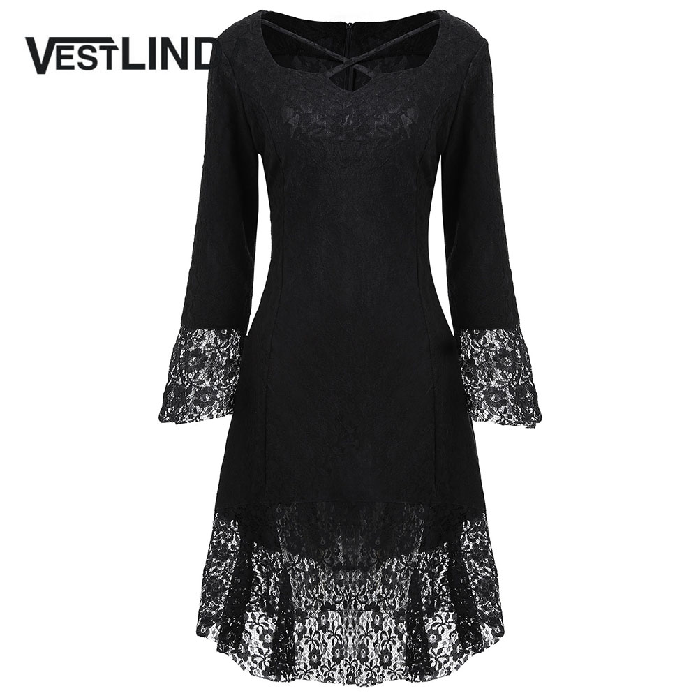 VESTLINDA Black Dress Women Sweetheart Neck Flare Long Sleeves Brocade Lace  Dresses New Fashion Casual Midi Vestidos De Festa-in Dresses from Women s  ... b6d43f06c2f6