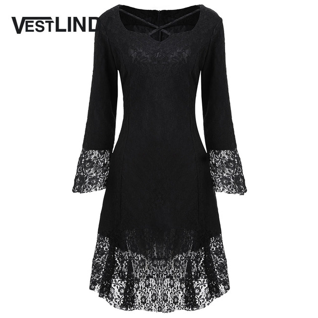 VESTLINDA Black Dress Women Sweetheart Neck Flare Long Sleeves Brocade Lace  Dresses New Fashion Casual Midi e99bf304b04e