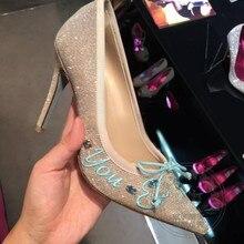 2016ชุดรองเท้าผู้หญิงแต่งงานปั๊มผีเสื้อใหม่ชี้นิ้วเท้าส้นสูงแหลมใบบนG Litterระยิบระยับโบว์Bowtieเลื่อม