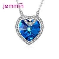 New Fashion Romantic Sea Blue Heart Pendant Necklace 925 Sterling Silver Wedding/Engagement Party Necklaces Wholesale
