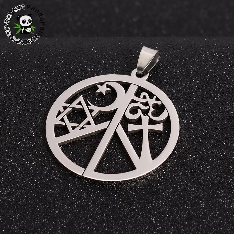 Peace Sign with Ohm/Aum, Star of David, Cross, Moon & Star 304 Stainless Steel Pendants, Stainless Steel Color, 44x39.5x1.5mm,