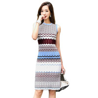 Women's Summer Knitted Dress 2018 Fashion Slim Fit Waved Striped Vest Sweater Vestidos Long Bodycon Pencil Dresses Female S6