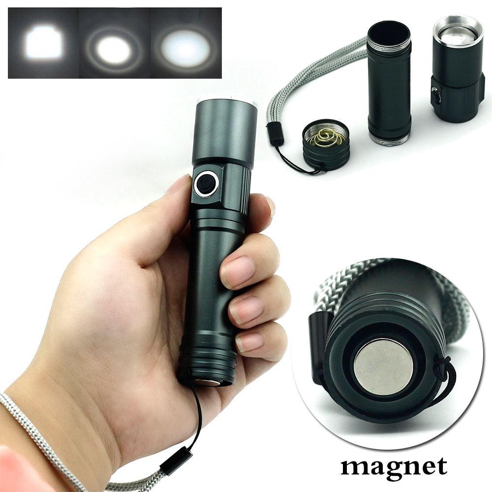 2000lm CREE Q5 zoom Flashlight with Magnet rechargeable 18650 LED Adjustable Focus 3 Mode Torch for Indoor Outdoor camping outdoor camping cree xm l 2000lm waterproof 5 modes focus adjustable led flashlight torch light lamp with 18650 and bike clip