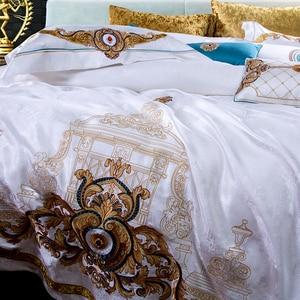 Image 3 - 800TC 4/6/10Pcs Satin Cotton Luxury Royal Bedding Set King Queen size Duvet cover Bed sheet set Wedding Bedspread Pillow shams