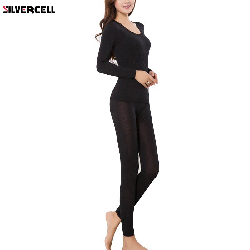 Women Long Sleeve Thermal Winter Warm Underwear Tops+Pants Long Johns Set