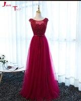 Jark Tozr Vestido De Noche Custom Made Beading Pearls Burgundy Fomal Evening Gown Party Dresses Long