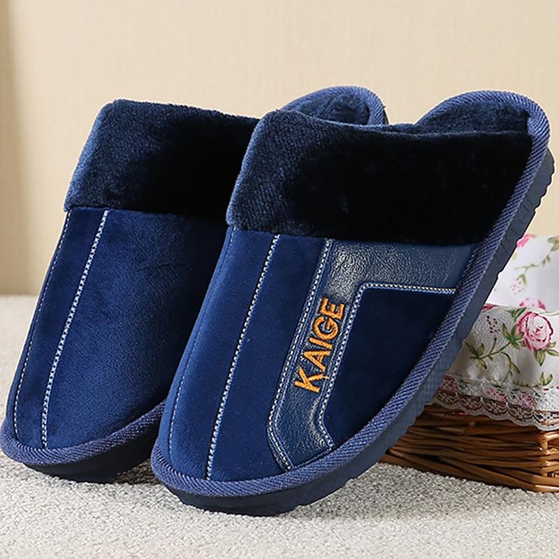 Men Slippers Home Slippers Man Flock Large Size 41-49 Plush Warm Slippers For Men Soft Non-slip Winter Slippers 2019 New