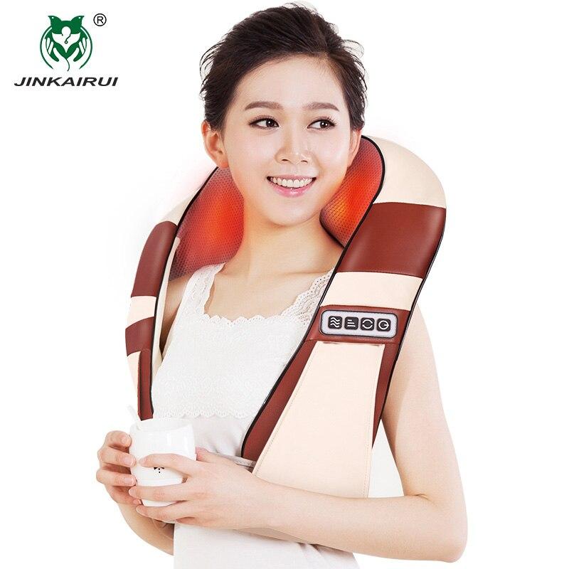 JinKaiRui 4D chauffage infrarouge 12 boules de Massage U forme électrique Shiatsu pétrissage dos cou épaule corps Massage oreiller voiture maison