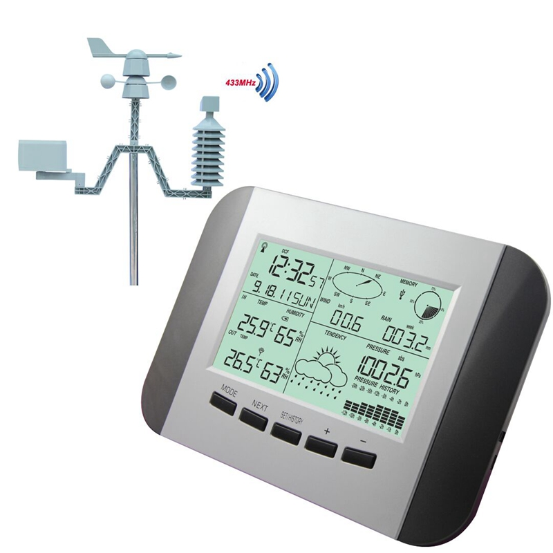 100M Professional Weather Station Thermometer Humidity Rain Pressure Data Recorder With PC Solar Power Wireless Weather Center professional weather station windspeed winddirection rainmeter pressure temperature humidity uv with solarchargefunction outdoor