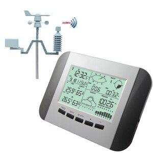 Image 1 - 100M מקצועי תחנת מזג מדחום לחות גשם לחץ נתונים מקליט עם מחשב שמש כוח אלחוטי מזג אוויר מרכז