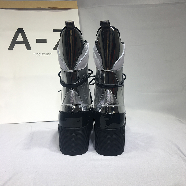 Automne Bottes Marée Superstar Lace Up En Pics Argent Cuir forme As Carrés Chevalier Designer Hot Plate Talons Hiver Chaussures Femme 2018 45SqwOwx