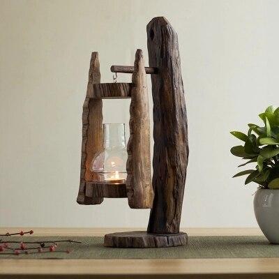 Подсвечник из дерева, ветряная лампа, ретро Юго Восточной Азии стеклянная крышка подсвечник, открытый ветрозащитный лошадь лампа, украшени