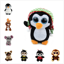 Ty Beanie Cute Penguin Boos Big Eyes 6 Plush Rabbit Monkey with Sparkling Sequins Animal Toys