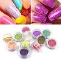 Nuevo 12 Unids/set Pigmentos 3D Lentejuelas Escarcha Polvo Del Polvo de Uñas de Azúcar Gel de uñas Chica Deslumbrante Color de Uñas Arco Iris Perla DIY Consejos Deco