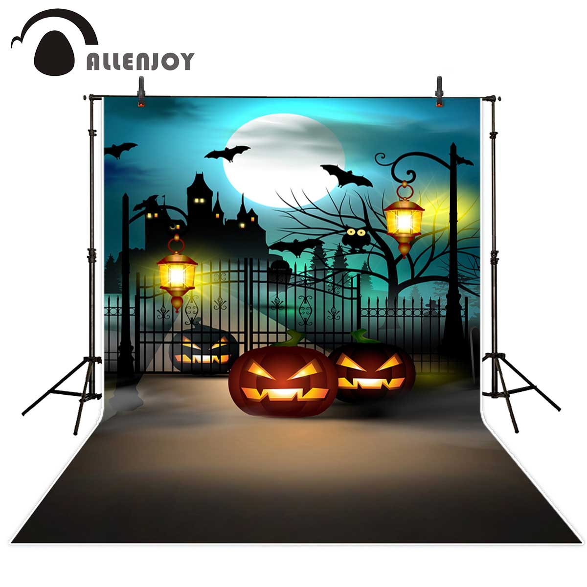 Allenjoy Halloween backdrop pumpkin castle bats street lamps background for photo studio for a photo shoot рубашка gerry weber gerry weber ge002ewwra96