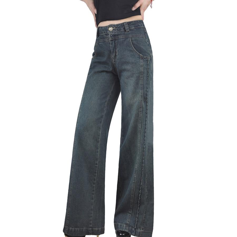 Sciolto Pantaloni Alta Vita Di Primavera Inverno A Donna Autunno Per Larga Sottile Gamba Denim In Lavato Donne I xw7nz8qRR