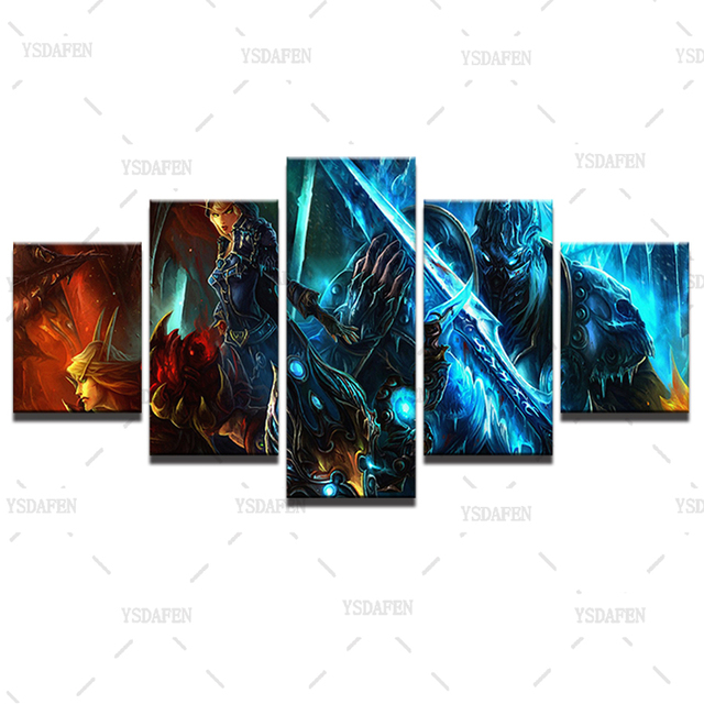 Wall Art Canvas Paintings Living Room Decor 5 Pieces World Of Warcraft Pictures HD Printed Framed Game Warrior Soldiers Posters 2