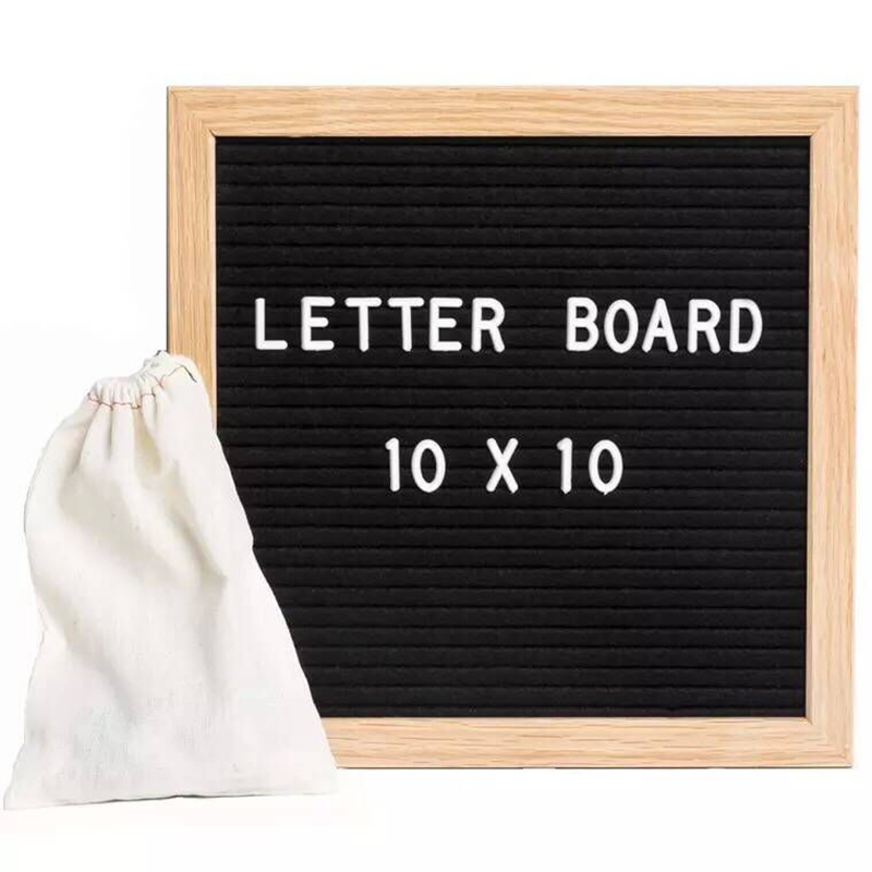 1PCS Wooden Felt Letter Wood Blackboard Toys 10*10 Inch Felt Cloth Blackboard Wooden Message Board Wooden Children's Toys