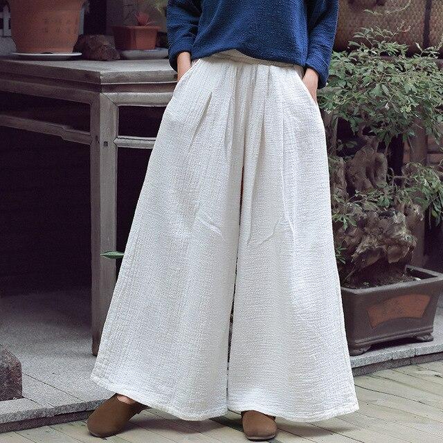 2018 primavera nueva mujeres Soft Loose Pantalones longitud completa  Pantalones harem color sólido blanco pierna ancha 1ba2abf3d98